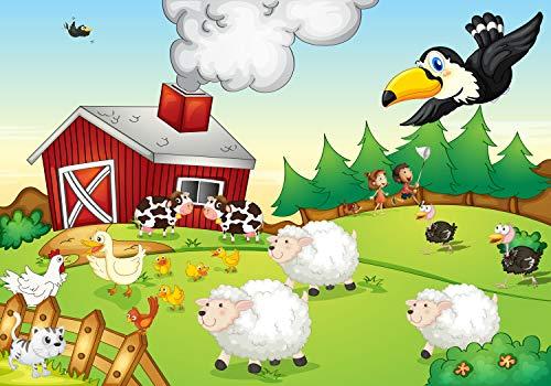 wandmotiv24 Fototapete Bauernhof Kinderzimmer XL 350 x 245 cm - 7 Teile Fototapeten, Wandbild, Motivtapeten, Vlies-Tapeten Landschaft, Kinder M0280