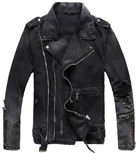 chouyatou Men's Distressed Double-Zip Belted Ripped Biker Denim Jean Jacket (Small, Dark Grey)