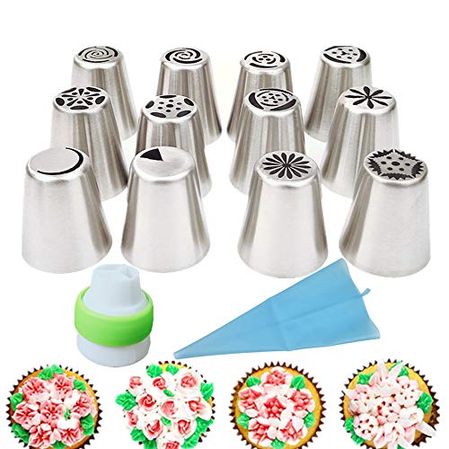 HTTSUNG Boquillas Rusas de Reposteria,14pcs Boquillas para Manga pastelera,Set Decoración de Cupcakes y Tartas,Incluir 14 Boquillas,1 Acopladores,1 Bolsa Silicona Reutilizable