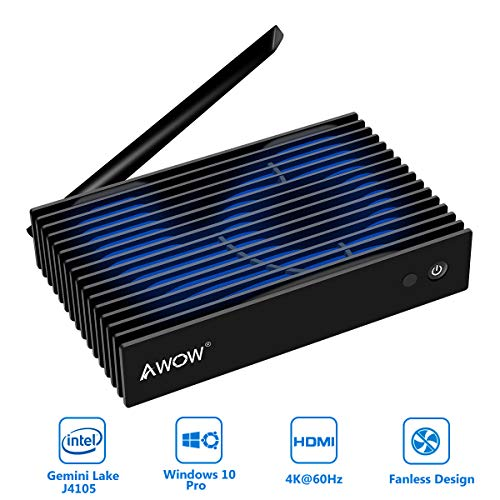 AWOW NV41 Fanless Mini PC, Intel Gemini Lake J4105 Windows 10 Pro Desktop Computer, 4GB DDR4 64GB 4K@60fps/Support 2.5