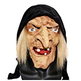 Creepy Scary Halloween Old Witch Mask Latex Snow White Witch with Hair & Hood Halloween Scary Head Horrifying Masquerade Mask (Yellow)
