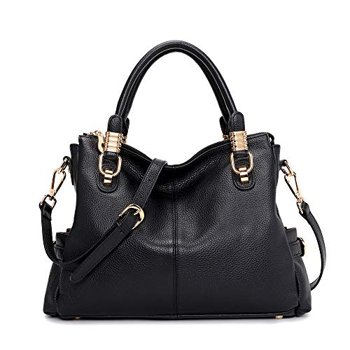 "♦ MATERIAL: Handbag are made of Top cowhide genuine leather, bottom with golden metal rivets protective. (Please allow little color difference due to different camera or light environment. ) ♦ DIMENSIONS (L*W*H): 14.17"" * 4.72"" * 10.24"" / Weight: 2.4..."