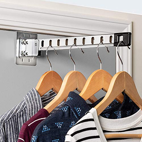 Honey-Can-Do Space-Saving, Over-The-Door Collapsible Hanger Holder, Chrome HNG-01519 Chrome