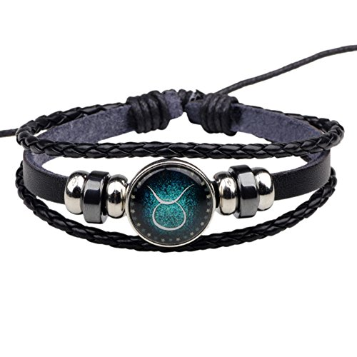 Zantec Dames 12 sterrenbeeld-armband van gevlochten leer