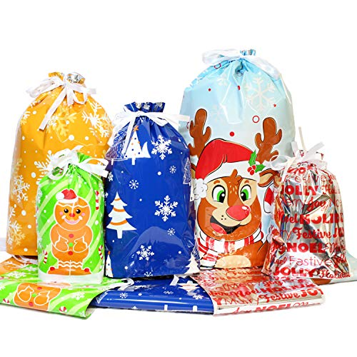 32 Christmas Drawstring Gift Bags, Goodie Bags for Xmas Holiday Party Favor, Wrapping Gift Bags