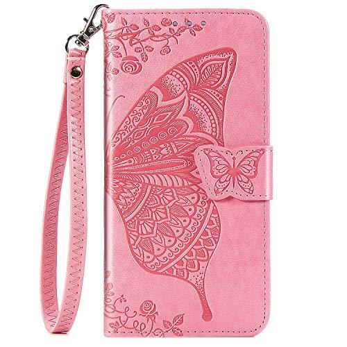 Blllue Funda tipo cartera compatible con Moto G8 Play, diseño de flores y mariposas, piel sintética, color rosa
