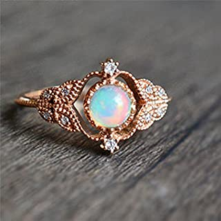 Ravewan Shop Vintage 18K Rose Gold Round White Fire Opal Leaf Engagement Ring Size 6 7 8 9 10 (8)