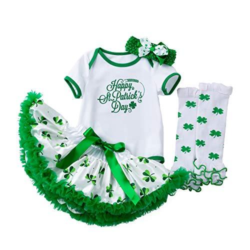 Disfraz de San Patricio, para recién nacidos, para sesiones fotográficas, festivales, fiestas, pelele con tutú, falda, cinta para la frente y calentadores de piernas Verde-B 3-6 Meses