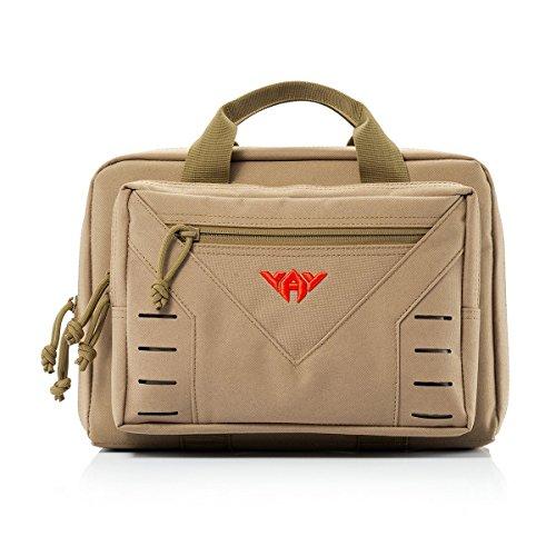 vAv YAKEDA Tactical Pistol Case Soft Range Bags for Handguns Additional Magazine Storage Slots 10L (Khaki)
