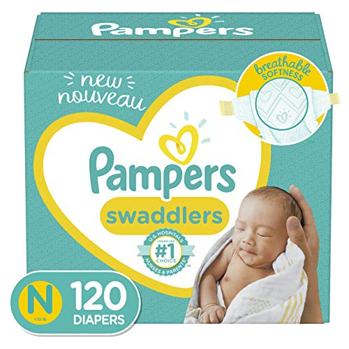 Baby Diapers Newborn/Size 0 ( 10 lb), 120 Count - Pampers Swaddlers, Giant Pack (Packaging May Vary)