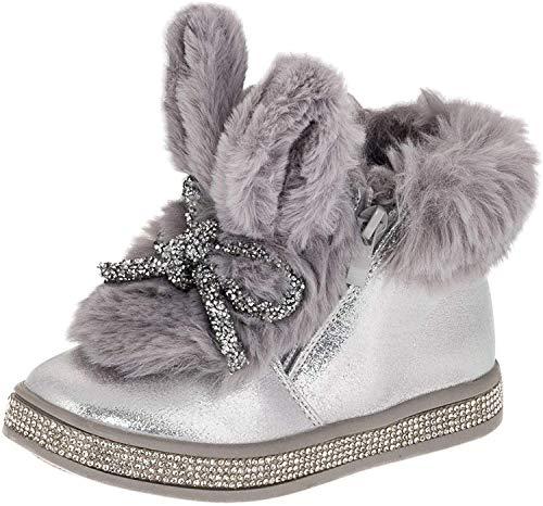 NM Gefütterte Mädchen Stiefel Boots mit Hasenohren mit Fell Glitzerband Strass M495si Silber 21 EU