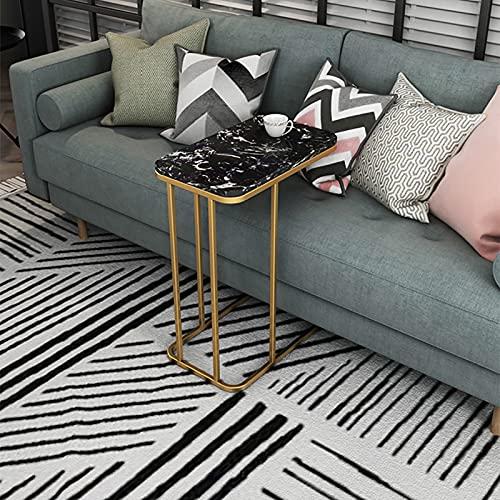 ZWJLIZI Mesa auxiliar de sofá de hierro, mesita de noche de mármol nórdico en forma de C, movible multifuncional 50 x 30 x 60 cm (color: C)