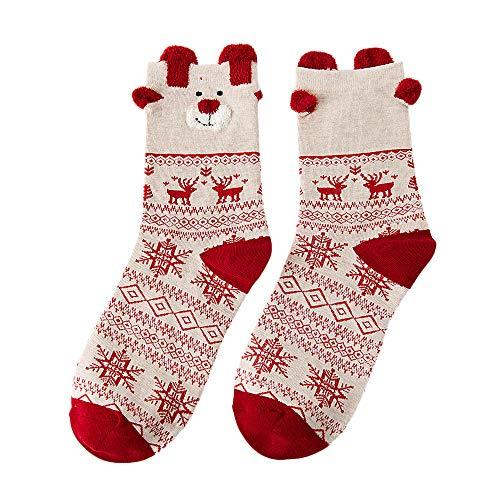 2020 Christmas Women Cotton Socks,Cotton Blend 1 Pair Socks,Women's Winter Socks,Christmas Cute Socks For Teen Girls (B)