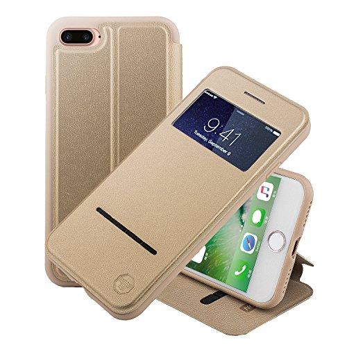 Nouske Custodia a per iPhone 7 Plus e iPhone 8 Plus Finestra da 5.5 Pollici con sensore Touch Intelligente, d'oro