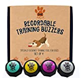 Recordable Training Buzzers - Set of 4. Dog & Puppy Speech Training Buttons. Easily Train Your Dog To Press Buttons And Voice What They Want.