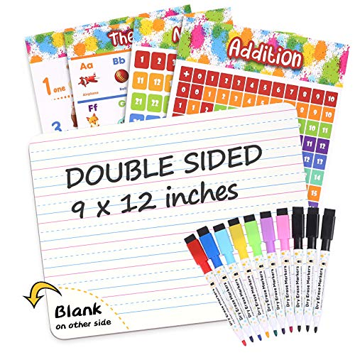 V-Opitos Dry Erase Board for Kids, 9 x12  Double Size Small White Board with 10 Colors Dry Erase Markers & 4 Educational Posters, Durable Mini Whiteboard for Students to Write and Draw