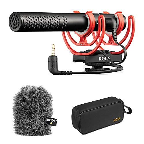 Rode VideoMic NTG Shotgun Vlogging Podcasting Microphone with Rode WS11 Windshield & Wide Mouth Case Bundle