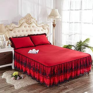 Zhiyuan Ruffle Bedspread Black Lace Bed Skirt and 2 Pillowcases Set, Queen, Red