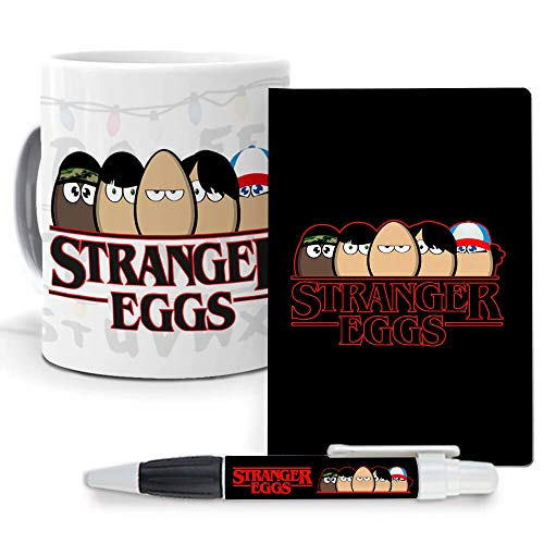 mundohuevo Pack Original y Personalizado, Series, Personajes Famosos. Stranger Things. Libreta, boligrafo...