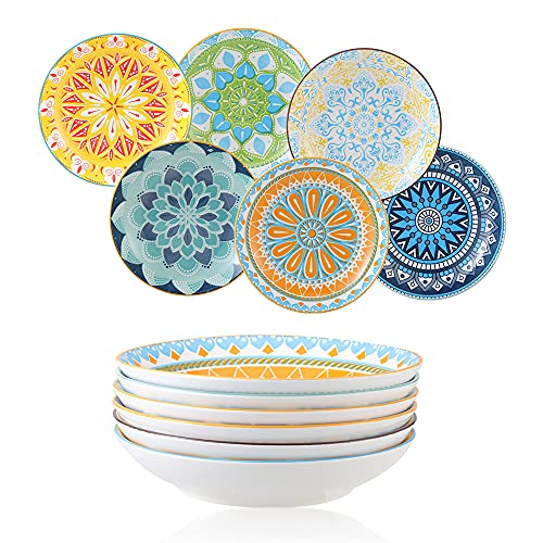 Platos Hondos Juego de Platos de 6 Colores - Porcelana Platos Hondos para Sopa   Pasta   Risotto   Ensalada   Postre - 20×4 cm