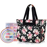 Yarwo Embroidery Project Bag, Embroidery Kits Storage Bag with Multiple Pockets for Embroidery Hoops (Up to 11.2'), Embroidery Floss or Other Embroidery Supplies, Black Peony (Bag Only)