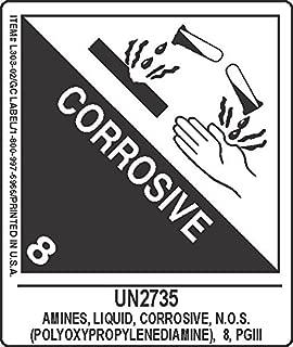 GC Labels-L303P3382, UN2735 Amines, Liquid, Corrosive, N.O.S.(Polyoxypropylenediamine), 8, PGIII BDC, Roll of 500 Labels