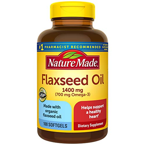 Nature Made Flaxseed Oil 1400 mg Softgels, 100 Count for Heart Health Support