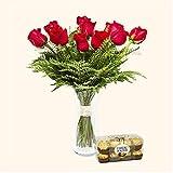 Pack Ramo de 12 rosas + Caja de 16 Ferrero Rocher - París - Ramo de flores naturales y Ferrero Rocher a domicilio - Envío a domicilio 24h GRATIS - Tarjeta dedicatoria de regalo