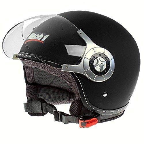Mach1® Jethelm Motorradhelm ECE R 22.05 schwarz Roller Scooter Helm Größe XS bis XXL mit durchsichtigem Visier (Schwarz - Größe 57-58cm (M))