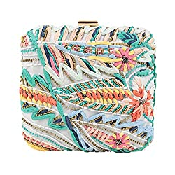 Chumbak Wavy Flowers Embroidered Ivory Box Clutch