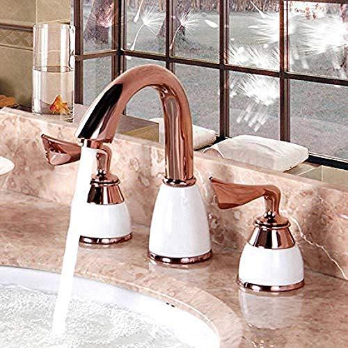 Waterkraan wastafelarmatuur klein zwembad waterkraan keramiek patroon goud drie-gats wastafelkraan warm en koud 8 inch split Europese stijl kraan @ 3 3