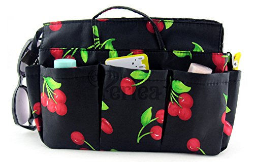 Periea Handtaschen-Organizer 1 Fächer mit Schlüsselclip - Schwarz mit roten Kirschen - Ria