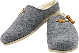 MatiMax - Pantofole in feltro, calde, comode, autunnali, invernali, grigie con elastico