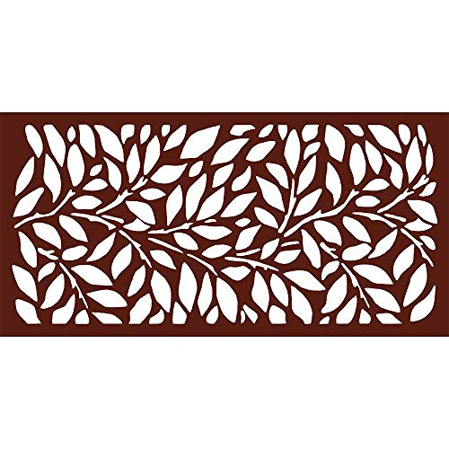 Metal Privacy Screen, Laser Cut Decorative Steel Privacy Panel Metal Fencing, Hanging Room Divider Partitions Panel Screen,48x24inch, 1 Piece (Tree Leaves, Rust)