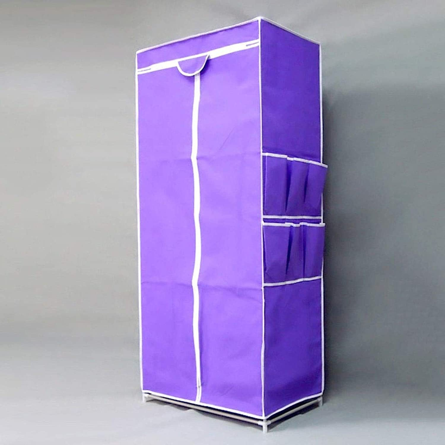Yalztc-zyq16 Small Cloths Simple Steel Single Wardrobe Dorm Room Reinforcement Thickening Assembly Fold Cloth Wardrobes (color   Purple)
