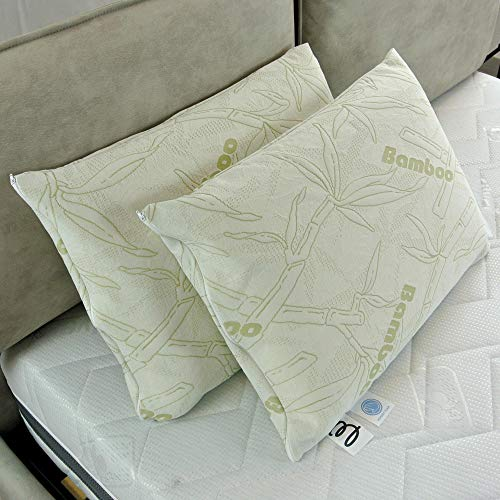 Baldiflex - Par de almohadas de espuma viscoelástica (40 x 60 cm, funda de bambú)
