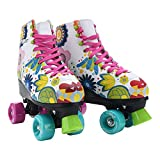 Stemax Quad Roller Skates for Girls and Women-Size 2.5 Kids to 8.5 Women -Outdoor, Indoor and Rink Skating- Classic High Cuff with Adjustable Lace System (Floral, 6 Women)