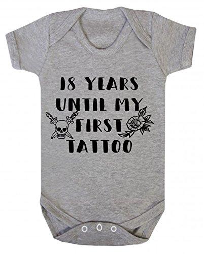ICKLE PEANUT Baby-Body mit Aufschrift 18 Years Until My First Tattoo, für 0-3 Monate, Grau