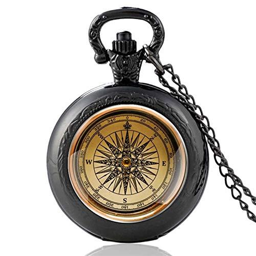 Clásico Antiguo diseño de brújula Cabochon Cuarzo Reloj de bolsillo Vintage hombres Mujeres Colgante Collar Cadena Reloj de Joyería Regalos para el cumpleaños del día del padre ( Color : PA857 Black )