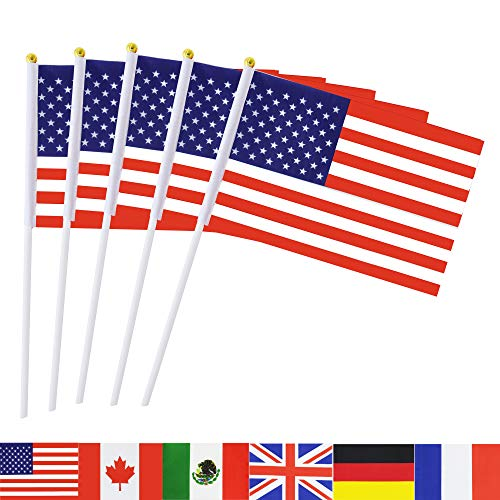 TSMD USA Stick Flag, 50 Pack Hand Held Small American US Flags On Stick,International World Country Stick Flags Banners,Party Decorations for 4th of July,Sports Clubs,Festival Events Celebration