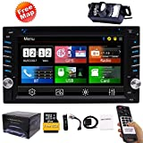 Double Din Car Stereo GPS Navigation System DVD Player Bluetooth 2 Din Car Radio Capacitive Touch Screen + Free Backup Camera Support SWC USB SD 1080P Wireless Remote Control Car Logo Multi Languag