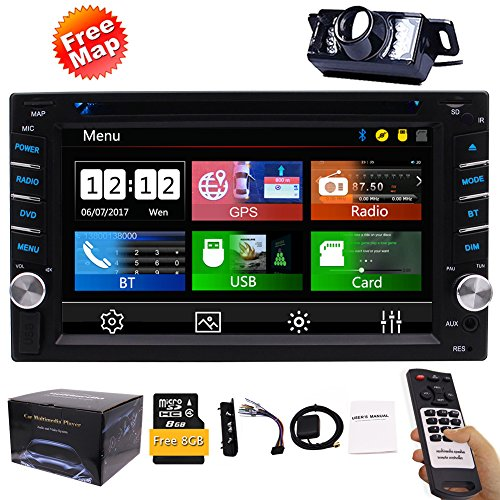 Double Din Car Stereo GPS Navigation System DVD Player Bluetooth 2 Din Car Radio Capacitive Touch Screen + Free Backup Camera Support SWC USB SD 1080P Wireless Remote Control Car Logo Multi Language