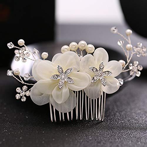 Coiffure de mariée élégante Fleur Peigne De Cheveux Clips De Mariée Accessoires De Robe De Mariage - Blanc