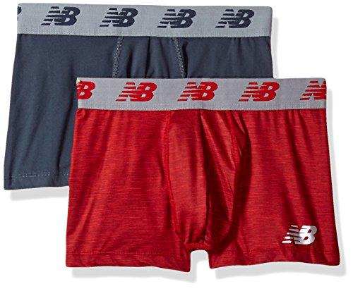 New Balance Herren Premium Performance 7,6 cm Trunk Unterwäsche (2 Stück), Space Dye Red/Thunder, XL (101,6–106,7 cm)