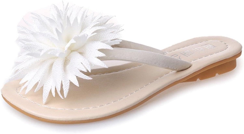 T-JULY Womens Ladies Bohemian Flower Flat Flip Flops Slip on Thong Dress Sandals Summer Beach Slippers