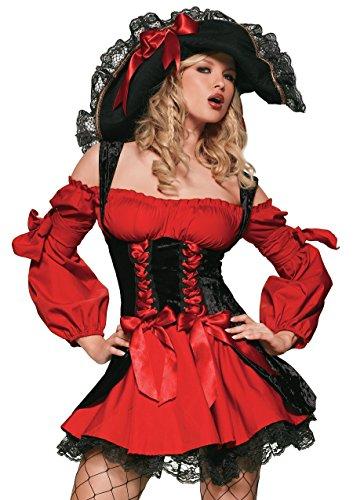 LEG AVENUE 83157 - Samt Piraten Kostüm Mit Schnüren Damen Karneval Kostüm Fasching, XL (EUR 44-46)