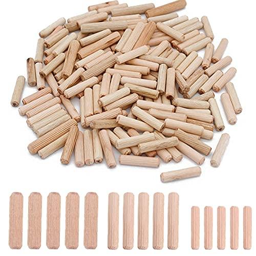 KAILEE 500 Stück Holzdübel Set 6mm 8mm 10mm Riffeldübel Buche Holz Hübel für Möbel Bett Schublade Holzwerk Gerillt Geriffelt Pin Craft