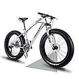 Wind Greeting 26' Bicicletas de Montaña,24 Velocidad Bikes de Nieve,Bicicleta de Montaña para Adultos Fat Tire,Marco de Acero de Alto Carbono Doble Suspensión Completa Doble Freno de Disco (Plata)