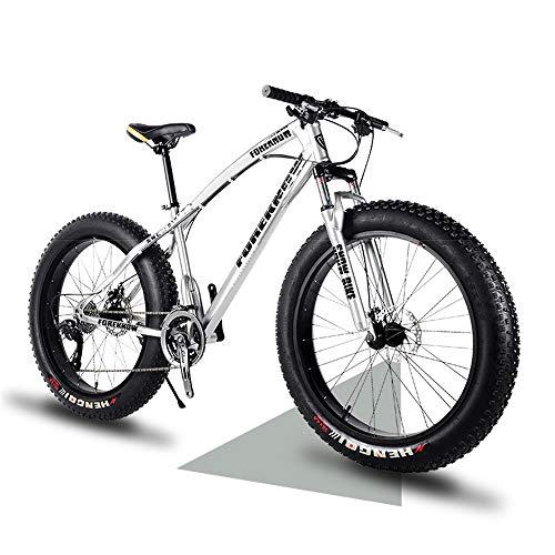 "Wind Greeting 26"" Bicicletas de Montaña,24 Velocidad Bikes de Nieve,Bicicleta de Montaña para Adultos Fat Tire,Marco de Acero de Alto Carbono Doble Suspensión Completa Doble Freno de Disco (Plata)"