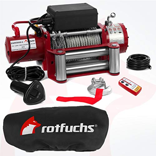 Elektrische Seilwinde Motorwinde 12V 5909 KG 6,0 PS Rot inkl. Funkfernbedienung und Schutzhülle